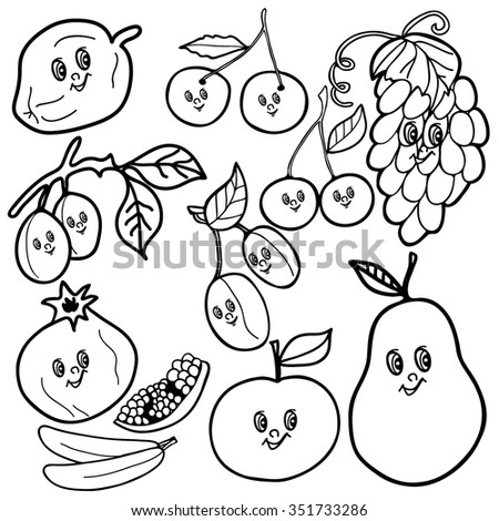 Coloring Book Hand Drawn Fruit Black And White