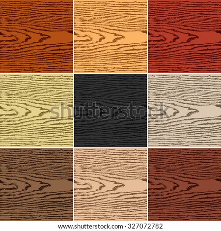 9 colors wood texture background. Set 04 Empty realistic plank with annual years circles. Blank natural pattern swatch template. Backdrop size square format. Vector illustration design elements 10 eps - stock vector