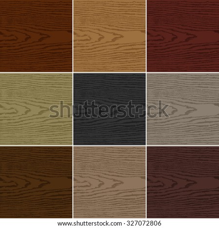 9 colors wood texture background. Set 05 Empty realistic plank with annual years circles. Blank natural pattern swatch template. Backdrop size square format. Vector illustration design elements 10 eps - stock vector
