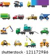 15 colour images of building cars on a white background - stock vector