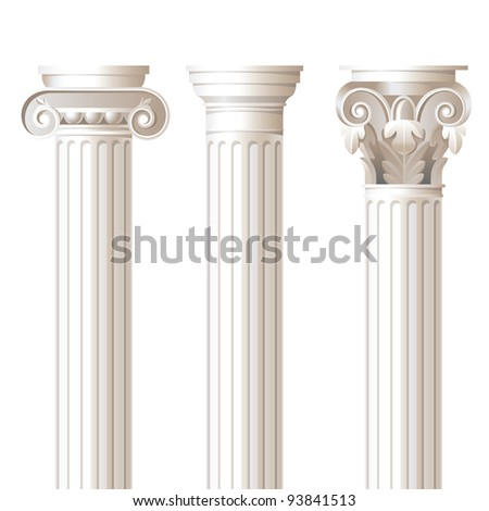 3 columns in different styles - ionic, doric, corinthian - for your architectural designs