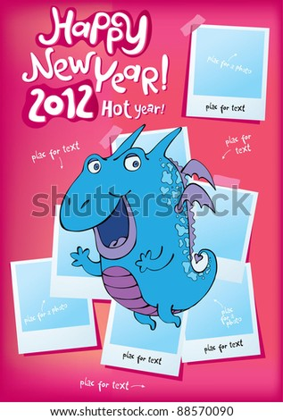 2012 comical  dragon new-year place for a photo - stock vector