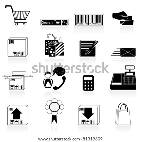commerce icons - stock vector