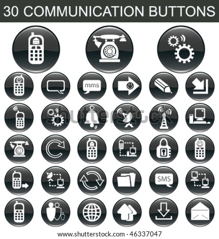 30 Communication Black Buttons Set