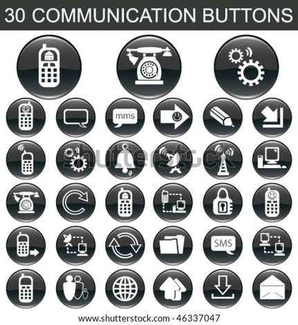 30 Communication Black Buttons Set - stock vector