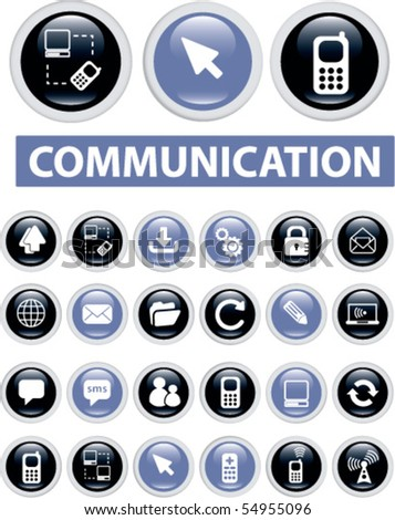24 communication buttons. vector