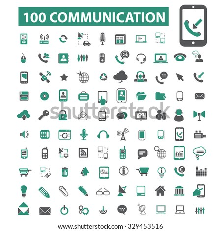 100 communication, connection icons - stock vector