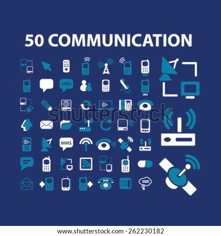 50 communication, connection icons, signs, illustrations concept design set on background, vector - stock vector