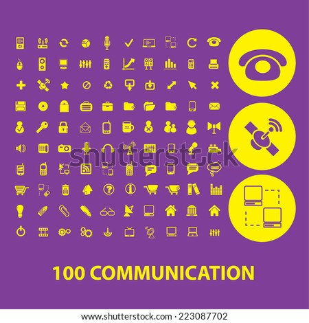 100 communication, connection, internet, phone, network isolated icons, signs, illustrations, silhouettes set, vector on background for web and mobile  - stock vector