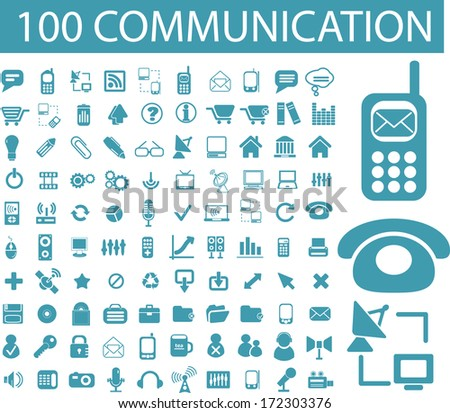 100 communication, connection, network icons set, vector - stock vector