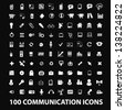 100 communication, connection, network technology, computer, cloud nets: white isolated icons, signs on black background for design template, vector set - stock