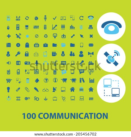 100 communication, connection, phone icons, signs, symbols set, vector - stock vector