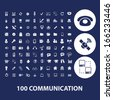 100 communication, connection, technology, computer icons - stock vector