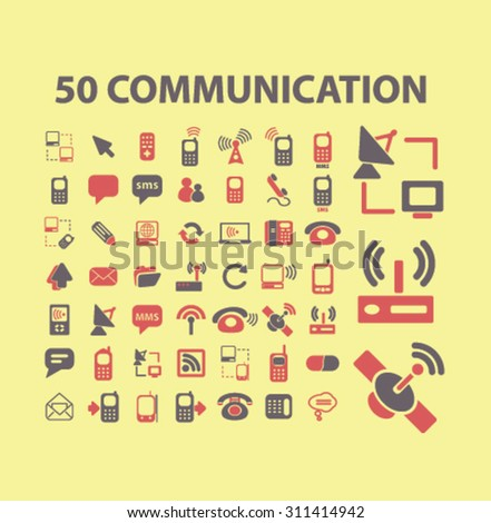 50 communication, connection, technology icons, signs set, vector