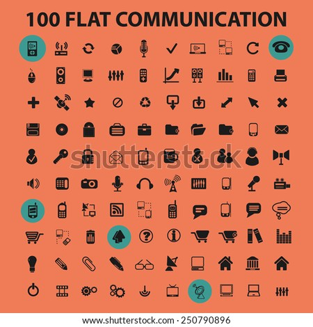 100 communication, connection, technology, mobile, phone flat icons, signs, illustrations design concept vector set - stock vector
