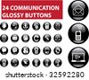 24 communication glossy buttons. vector - stock vector