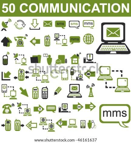 50 Communication Icons Set - stock vector