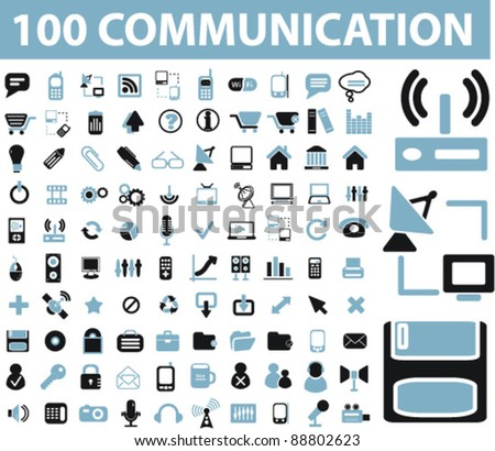 100 communication icons set, signs, vector