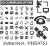 50 communication icons set, vector illustrations - stock vector