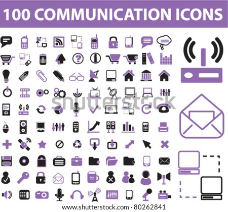 100 communication icons, signs, vector illustration - stock vector