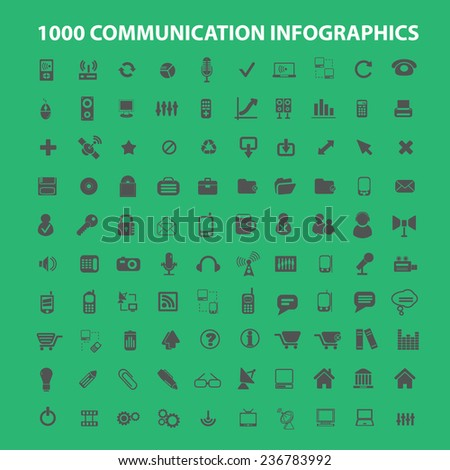 100 communication infographics, analysis, connection icons, signs set, vector - stock vector