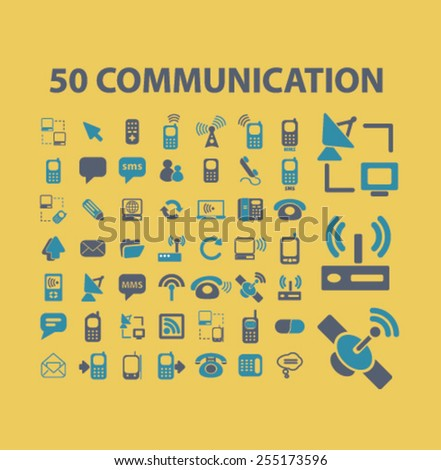 50 communication, phone, mobile, connection, network flat isolated concept design icons, symbols, illustrations on background for web and applications, vector