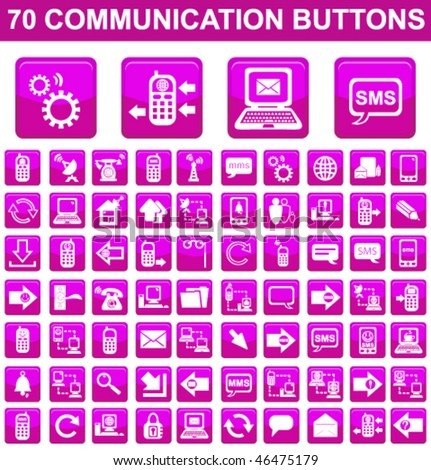 70 Communication Square Buttons Set - stock vector