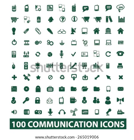 100 communication, technology, connection icons, signs, illustrations set, vector - stock vector