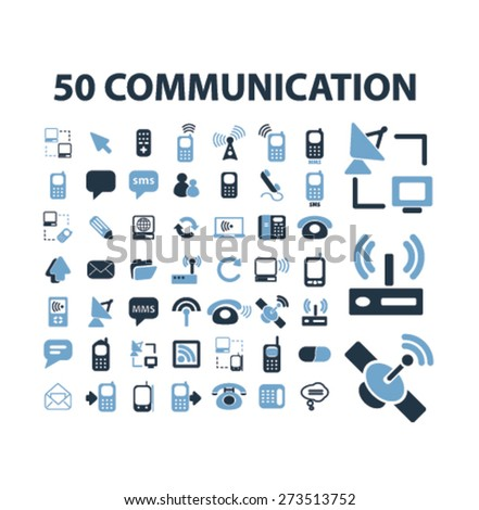 50 communication, technology, connection, network isolated icons, signs, illustrations website, internet mobile design concept set, vector - stock vector