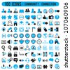 100 community connection icons - vector icons - stock vector