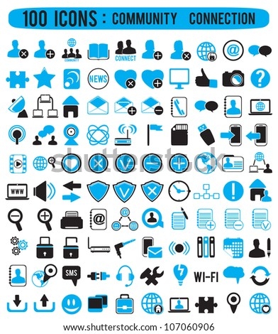 100 community connection icons - vector icons