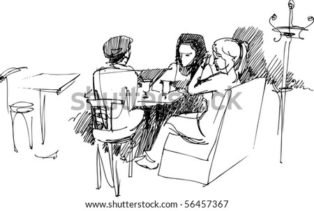 company at the table - stock vector