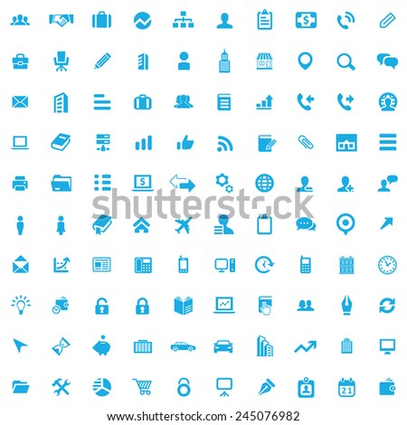 100 company icons, blue on white background