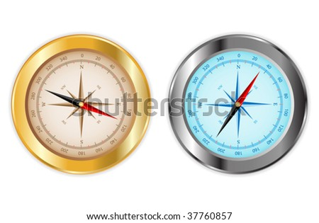 Compass in gold and chrome - stock vector