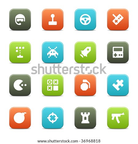 16 computer and leisure game icons for your website or software. The vector file includes four color versions of each icon. - stock vector