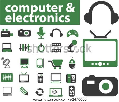 25 computer & media signs. vector - stock vector