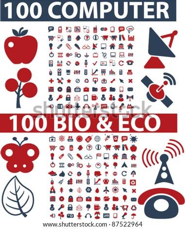 200 computer web bio icons, signs, vector illustrations - stock vector