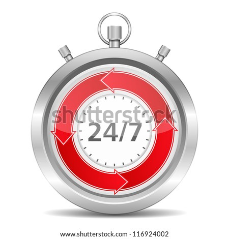 24/7 Concept, vector eps10 illustration - stock vector