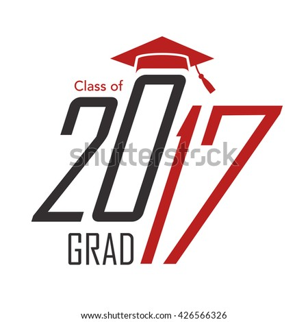 card of class 2017 with graduation hats over red background. colorful ...