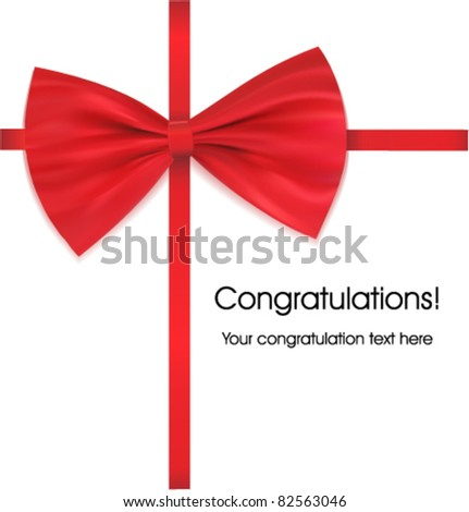 Congratulations with bow on ribbon red vector illustration - stock vector