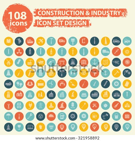 108 Construction and industry icons on buttons,clean vector - stock vector