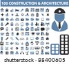 100 construction & architecture icons, signs, vector set, illustrations - stock vector