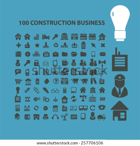 100 construction business isolated icons, signs, illustrations concept design set on background for mobile application, website, adverisement, vector - stock vector