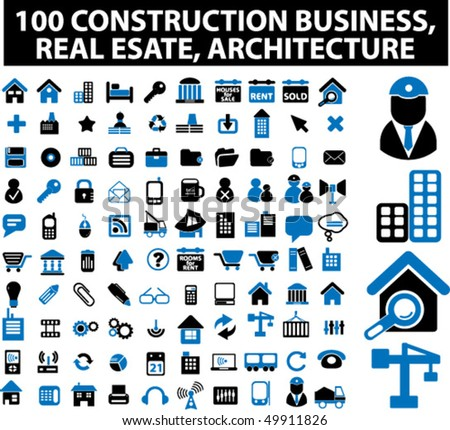 100 construction business, real estate, architecture signs. vector - stock vector