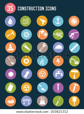35 Construction flat icons,colour vector - stock vector
