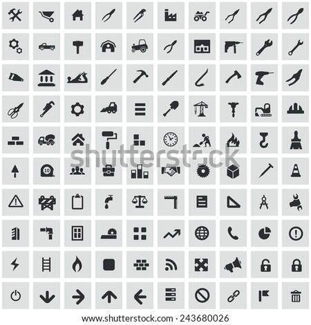 100 construction icons, black on square gray background  - stock vector