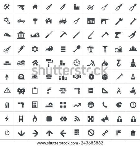 100 construction icons, black on square white background  - stock vector