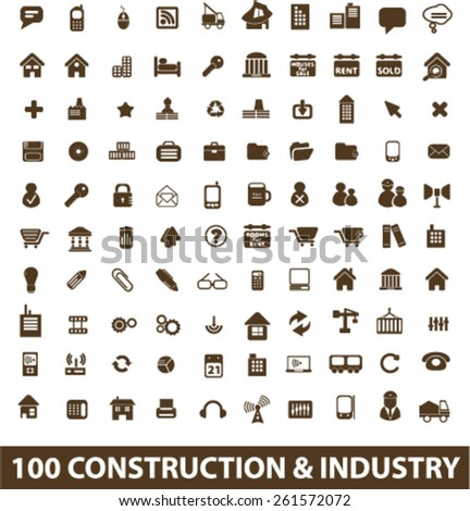 100 construction, industry, factory, development isolated icons, signs, illustrations collection concept design set for web and application on background, vector - stock vector