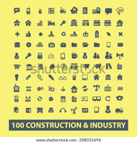 100 construction, industry, factory icons, signs, illustrations set, vector - stock vector