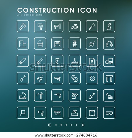 36 construction line icons with blur background - stock vector